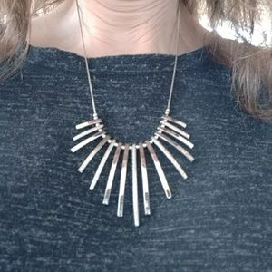 Two tone silver adjustable necklace